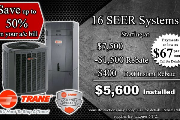 16 SEER System Installed for as low as $67 Per month
