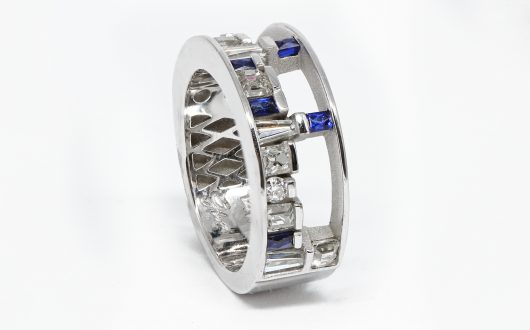 Custom Design Ring with Sapphires and Diamonds