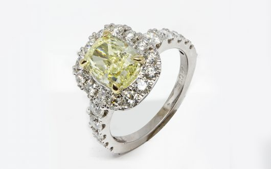 Custom Diamond Ring w Center Yellow Diamond