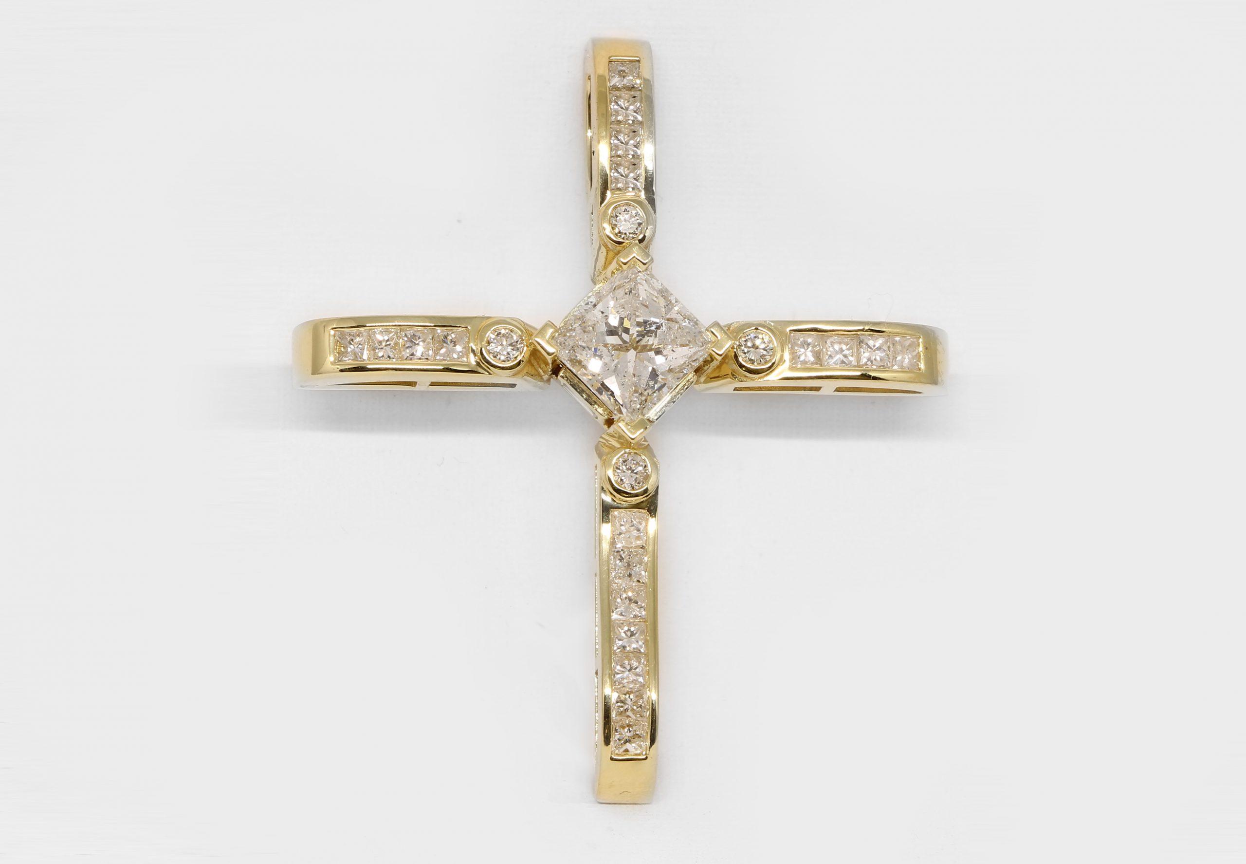 Custom Diamond Cross, 14K Yellow Gold