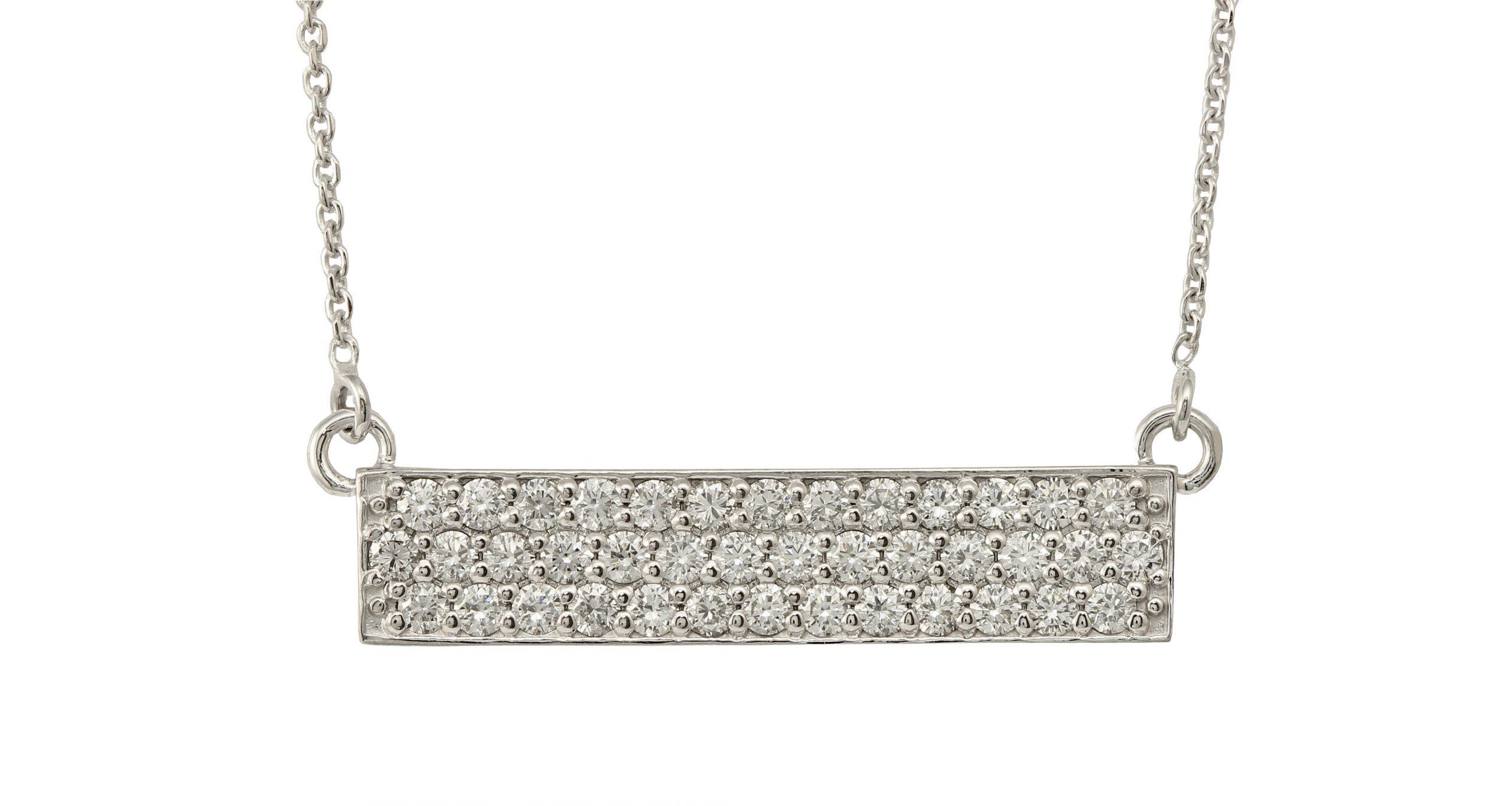 Custom Made Diamond Bar Pendant, 14k White Gold