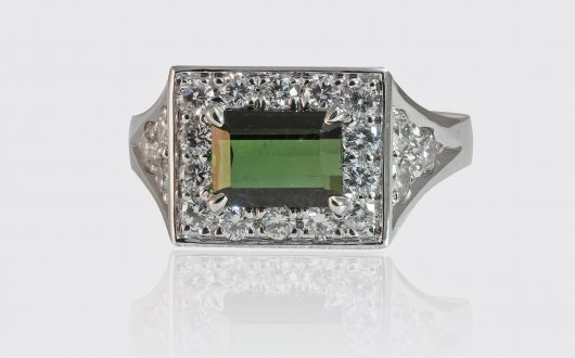 Mens White Gold Tourmaline Ring