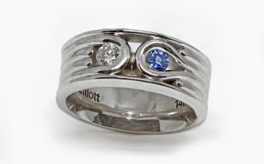 Custom Men's Wedding Band Diamond & Sapphire