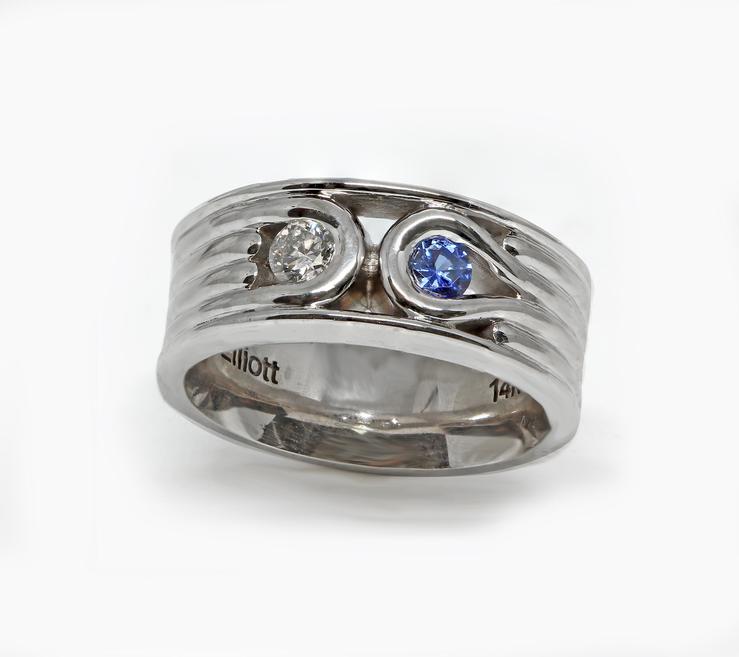 Custom Men's Wedding Band Diamond & Sapphire