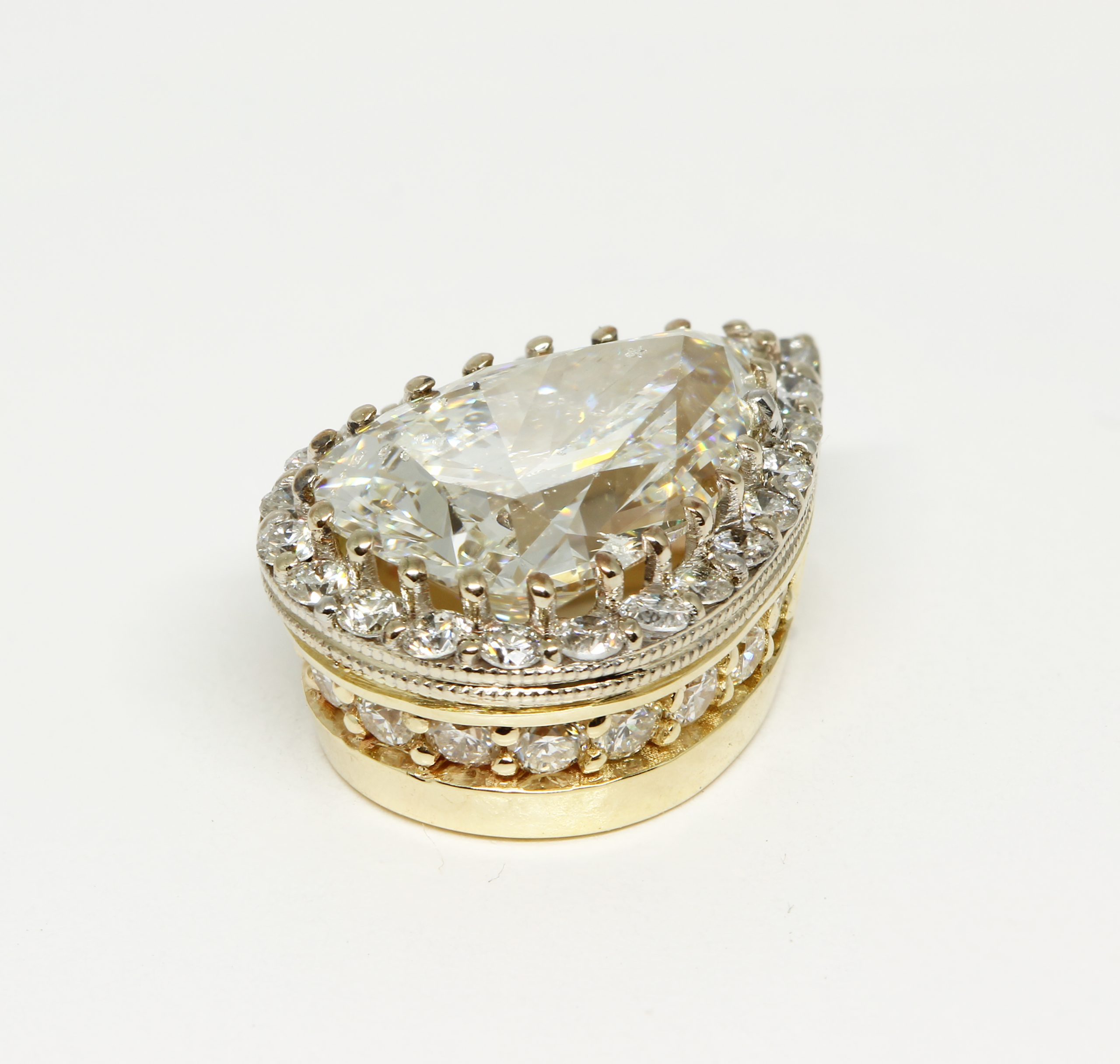 Custom diamond slide pendant, 14k White & Yellow Gold