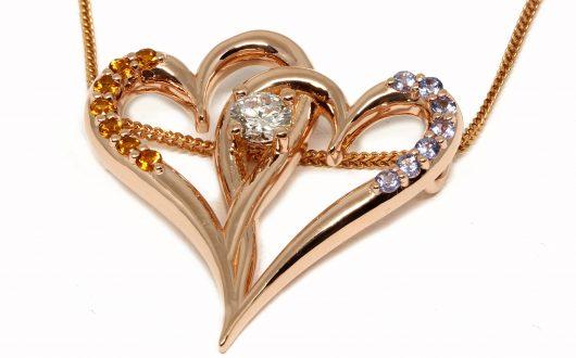 Double Heart Pendant, 14k RG