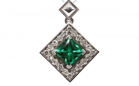 Emerald Pendant, 14k White Gold with Emerald and Diamonds