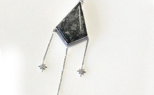 Custom Meteorite Pendant, 14k WG with Diamonds