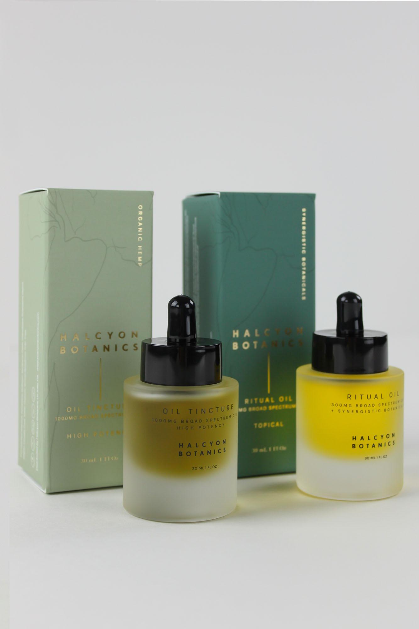 Custom Chipboard Product Box and Custom Printed Bottles l Halcyon Botanics
