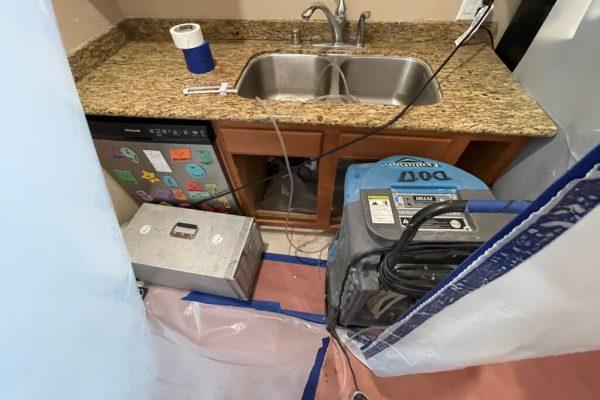 Kitchen Sink Overflow Water Damage in Escondido, CA